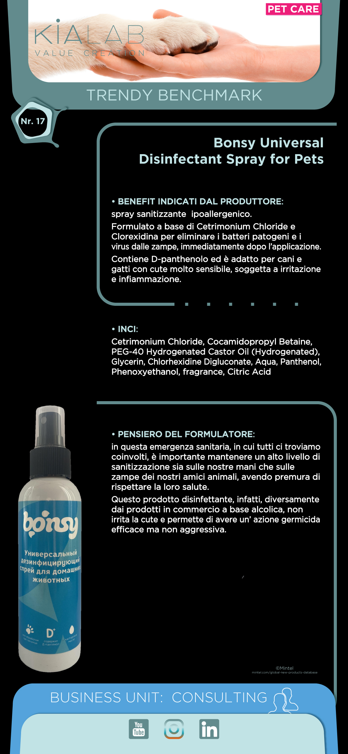 Trendy Benchmark Kialab Bonsy Universal® Disinfectant Spray fot Pets